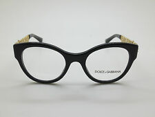 NEW Dolce & Gabbana D&G DG 3184 501 Black/Gold 48mm Eyeglasses w/ Box