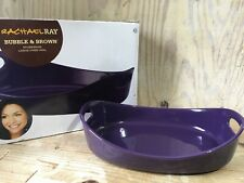 New listing Rachael Ray 4 Qt. Bubble Brown Stoneware Bakeware Large Oven Oval Handles Purple