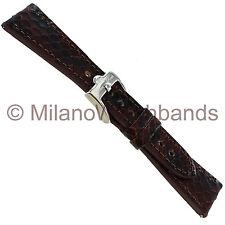 20mm Glam Rock Handmade Gen. Italian Leather Python Grain Brown Black Watch Band