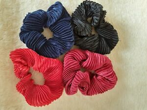 Large 10cm Pleated Sateen Scrunchies - Choice of 4 Colours