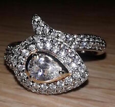 Bella Luce 3.40ctw. Pear & Round Rhodium & Yellow Gold Plated Ring EXC Sz.9