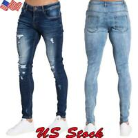Mens Skinny Fit Jeans Stretch Denim Pants Slim Casual Jeans Full-Length Pants