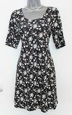MONSOON Black White Floral Print Jersey Short Sleeve Mini Tunic Dress UK 12  40