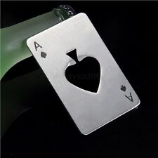 NOVELTY GIFT ACE OF SPADES STAINLESS STEEL BEER BOTTLE CAP OPENER FITS IN WALLET
