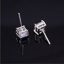 Square Fashion Womens Unisex White Gold Filled Earrings Mens Stud Earring