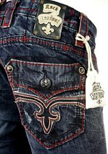 "$220 Mens Rock Revival Jeans ""Dan"" Leather Inserts Red Faux Straight 36 X 33"