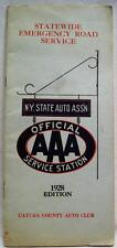 AAA AUTO CLUB NEW YORK STATE EMERGENCY ROAD SERVICE DIRECTORY 1928 VINTAGE