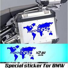 PAIR OF STICKERS WORLD MAP BMW R 1200 GS AC GLOBE FOR SIDE CASES BLUE