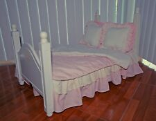 Doll Bed Pink & White fits American Girl Doll