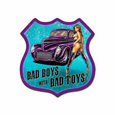 Bad Boys With Bad Toys Hot Rod Pin Up Route 66 Retro Sign Blechschild Schild NEU