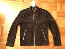 ZARA man LEATHER  Brown motorcycle biker Jacket Sz XL (Runs small)