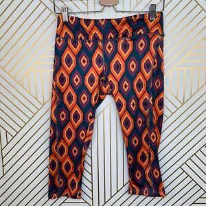 LulaRoe Jade Pants Yoga Capris Orange Blue Ikat Print Size M