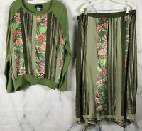 Koos Of Course Womens Silk Floral Sweater And Skirt Sz 1X