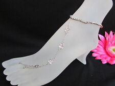New Women Silver Fashion Metal Anklet Foot Chain Jewelry Flower Roses Rhinestone