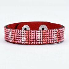 Red & Pink Ombre Pave Crystal Adjustable Suede Strap Wrap Bracelet