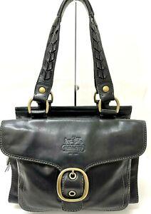 COACH Legacy Bleecker Tattersall Black Leather Shoulder Bag Handbag Rare EUC
