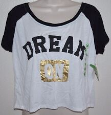 NEW Dream Out Loud Retro White ~DREAM ON Cropped Team Player Top Shirt junior XL