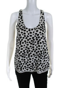 A.L.C. Womens Silk Abstract Print Tank Top White Black Size Extra Small LL19LL