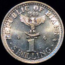 Biafra Nigeria 1 shilling aluminum UNC 1969 Coat of Arms KM#2 RARE & EXCELLENT!