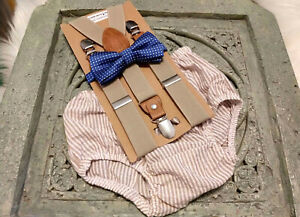 1st Birthday boy cake smash outfit bow tie suspenders  seersucker tan royal blue