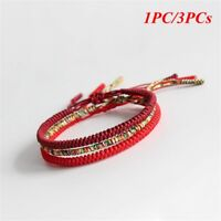 Handmade Weave Jewelry Tibetan Buddhist Knots Bracelet Weave Bangle Red Rope