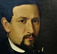 "PORTRAIT OF GENTLEMAN. OIL ON CANVAS. ANTONIO MARTI ""SORDOMUDO"" SPAIN. 1848"