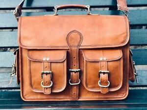 New Real Bag Leather Goat Men S Laptop Brown Vintage Messenger Genuine Briefcase