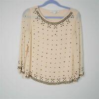 Diane Von Furstenberg Sylvia Sheer Hot Rhinestone Studded Top Cream Size 4