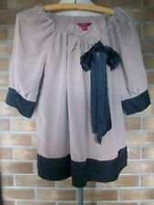 MONSOON Short Sleeve 100% Silk Tunic with Tie Neck & Bow Detail, Size 12