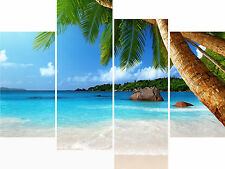 Large 4 Panel Set Wall Art Canvas Pictures Palm Tree Sea Beach Holiday Prints