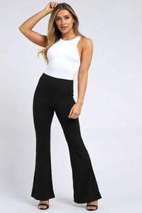 New Womens Rib Flare Trousers Wide Leg  Black Trousers  UK 6-12
