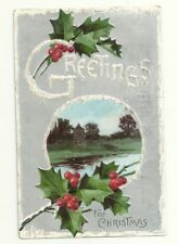 Christmas Greetings Church Holly Berries River Postcard Antique