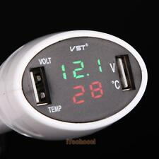 12V/24V LED Car Temp Volt Meter Voltmeter Dual USB  Cigarette Lighter Charger