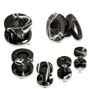 5mm Acrylic Ear Tunnel / Plug + Black & White Marble Design ~ Stretched Piercing