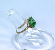 Ladies 14K Yellow Gold Ring w/ Fancy Cut Green Sapphire & 6 Accent Diamonds EMA
