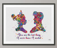 Princess Tiana Watercolor Print Tiana and Naveen Love Quote Disney Couple Quote