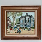 """H.Hargrove Canvas Victorian House With Children Playing Basketball 14""""x12"""""""