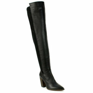 Vince Camuto Cottara Black Leather Fifty Fifty Pointed Toe Thigh-High Boots