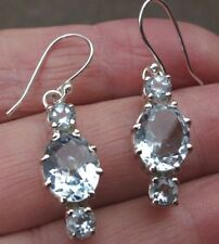 Superb Sterling Silver and Blue Topaz Dangley Ear Rings