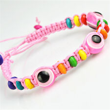 Lot of 3pcs Acrylic Bead Pink Rope Bracelet With Hamsa Evil Eye for Good Luck