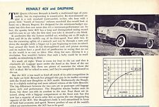 1956 RENAULT 4CV & DAUPHINE  ~  RARE ORIGINAL NEW CAR PREVIEW ARTICLE / AD