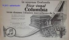 PUBLICITE DE 1927 COLUMBIA PHONOGRAPHE GRAFONOLA VIVA TONAL ORCHESTRE FRENCH AD