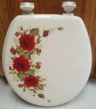 Hp Red Roses Toilet Seat/Bone/New Item By Mb/ Beautiful