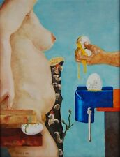 "Surreal Oil Painting Nude with Broken Eggs ""Have A Good Day"" signed Crisp"
