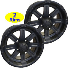 2) Golf Cart RIMs WHEELs 12x6 4/4 3+3 RHOX RX173 Vegas Matt Black Go Kart