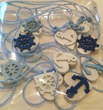 Nautical Garland/Bunting Shabby Chic Real Wood Mini Hearts Blue White 6ft