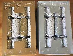 "24 Sainsbury's HOME Gold Star & Silver Snow Christmas Crackers 12"" - 2 Pks of 12"