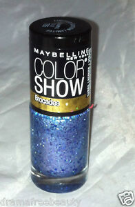 Maybelline Color Show Nail Polish Brocades *785 BEAMING BLUE* Gold/Purple Shimmr