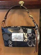 Coach Signature Patchwork Denim Mini Baguette Purse