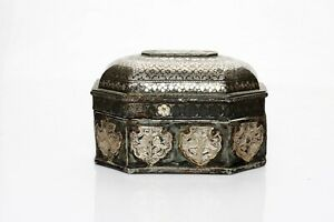 17th C Antique Old Rare Brass Carved Bidri Silver Work Betel Nut Box Storage Box